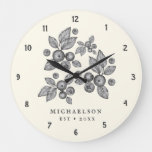 Farmhouse Berries Custom Name Butter Large Clock