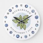 Fun and Fresh Blueberry Custom Name Large Clock