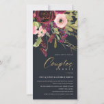 NAVY PINK BURGUNDY ROSE FLORA COUPLE SHOWER INVITE