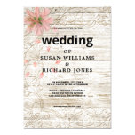 Pink flowers rustic brown wood backyard Wedding Invitation