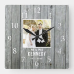 Rustic Gray Wood Wedding Anniversary Custom Photo Square Wall Clock
