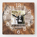 Rustic Personalized Wedding Anniversary Photo Square Wall Clock