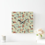 Farmhouse Animals Modern Pattern – Classic Country Square Wall Clock