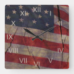 Patriotic US Flag Segment Over Rustic Cracked Wood Square Wall Clock