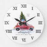 Vintage Red Car Farmhouse | Family Name Large Clock