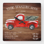 Vintage Red Truck | Farmhouse Christmas Square Wall Clock
