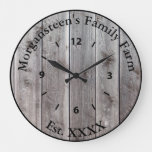 Farm Ranch or Stable Name 8 Custom Barnwood Styled Large Clock