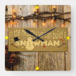 Rustic Christmas Carol Wooden Sign Clock