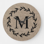 Rustic Laurel Wreath Family Monogram Farmhouse Large Clock