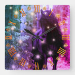 Fantasy land Unicorn in Magical Woods Square Wall Clock