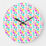 Loveyouart Floral Pattern Large Clock