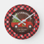 Red Truck Buffalo Plaid Rustic Wood Christmas Round Clock