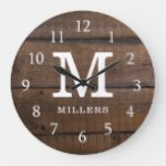 Rustic Dark Brown Wood Monogrammed Family Name Large Clock