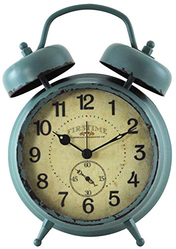 FirsTime & Co. Teal Double Bell Alarm Tabletop Clock, 5″ x 7″, Aged