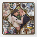 Diamond Shaped Family Photo Collage Rustic Dk Wood Square Wall Clock