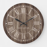 Rustic Wood Roman Numerals Country Farmhouse Name Large Clock