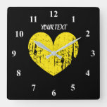 Big yellow vintage heart large custom kitchen square wall clock