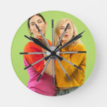 Create Your Custom Photo Collage Rustic Farmhouse Round Clock