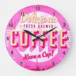 vintage coffee sign pink and yellow large clock