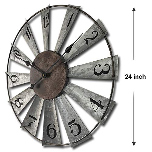 24inch Windmill Distressed Metal Wall Clocks Rustic Large Decorative Clock Oversized Farmhouse Decor,Non Ticking,Battery Operated