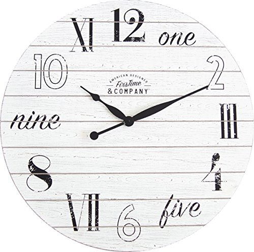 FirsTime & Co. Shiplap Chic Wall Clock, 27″, Aged White