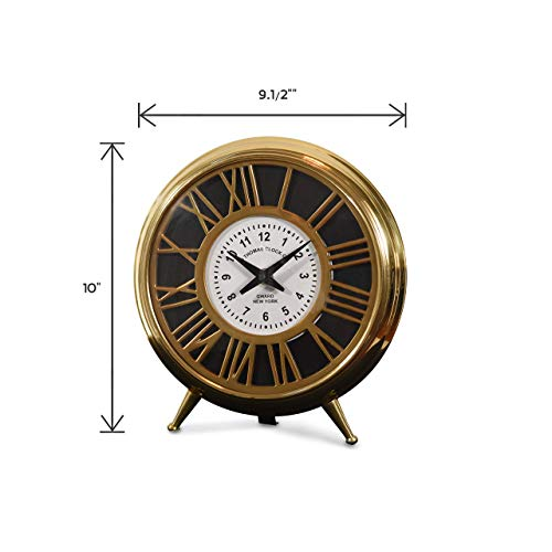 Decorative Aluminum/Brass/Steel Table Clock (DH10009) | Antique Mantle Clock for Home Decor | Small Round Clock for Office Desk, Study Table.