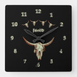 Cow Skull Brown Black Western Country Rustic Style Square Wall Clock