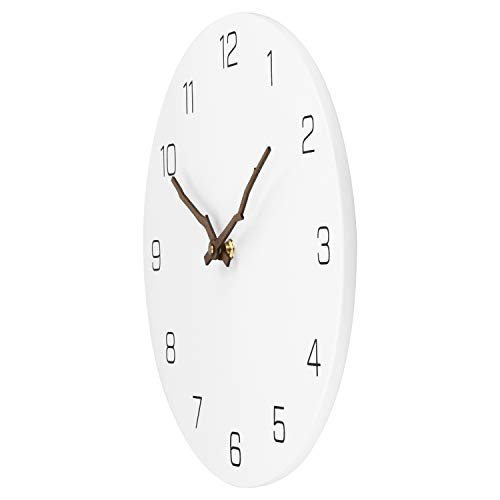 Ryuan Wooden Wall Clock Silent Non-Ticking Quartz Decorative Simple Round Wall Clocks Battery Operated Easy to Read for Home Office (Bough Hands)