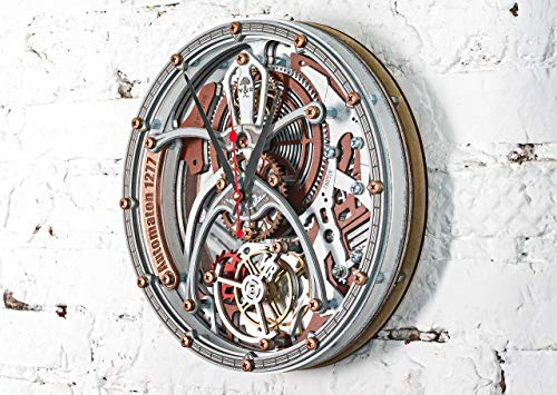 Automaton Tourbillon 1277 White Gray Custom made Wall Clock, Handcrafted Steampunk Decor, Mechanical moving Gears, Wooden Home Kitchen Living Room and Office design, Personalized Decorative Art, Gift