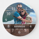 Personalized Rustic Wood Wedding Anniversary Photo Large Clock