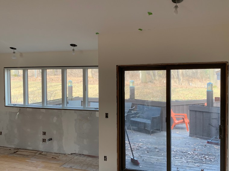 New kitchen window and partially finished walls