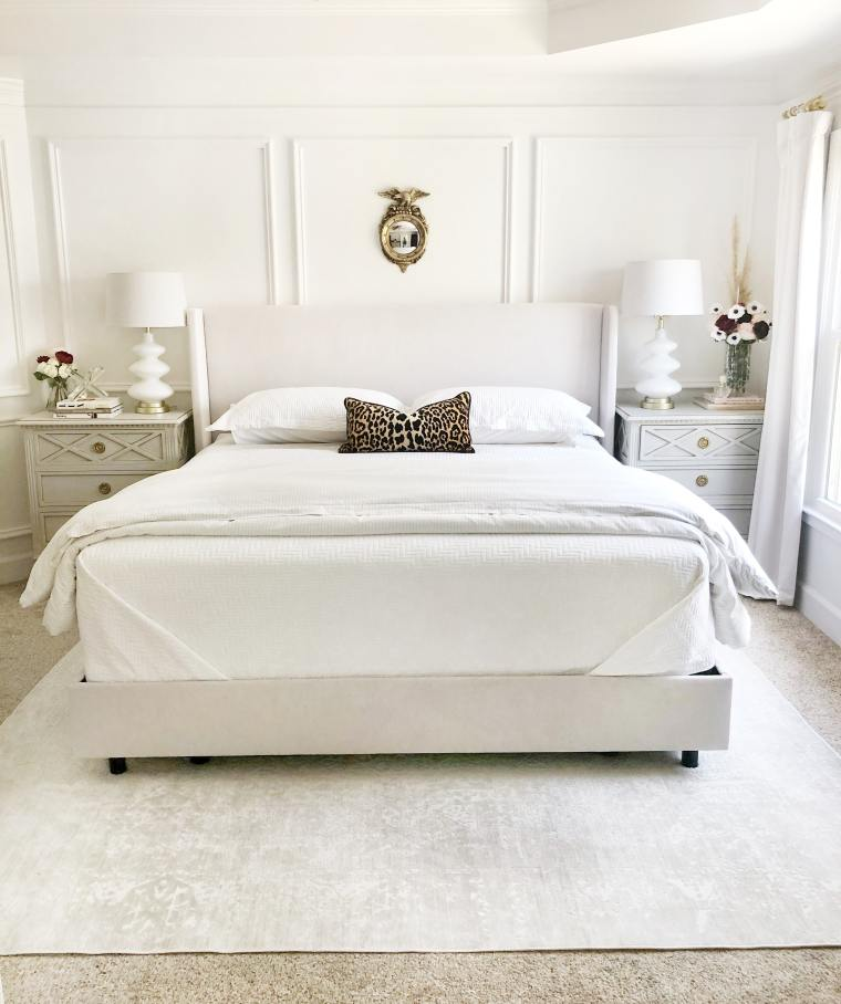 Bed with rug
