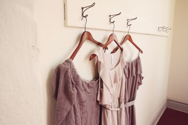 Wooden hangers for the coordinating bridesmaids