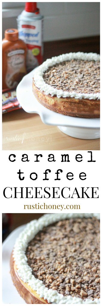 Caramel Toffee Cheesecake Dessert - Classic cheesecake layered with caramel and heath toffee bar crumbles