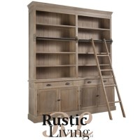 Bibliotheekkast met Ladder Hout Grey Wash
