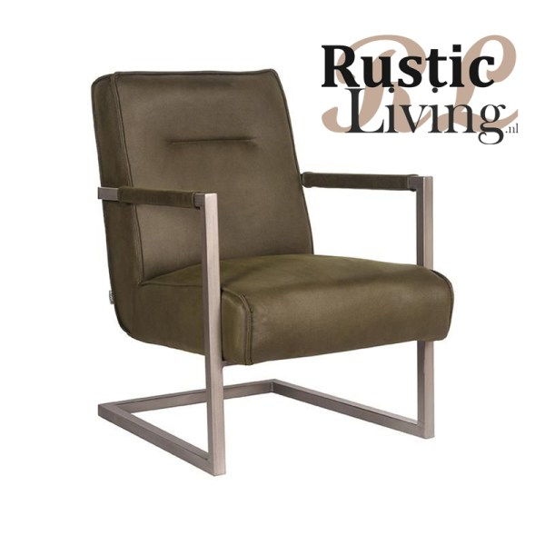 Fauteuil Jim Army Green microvezel metaal