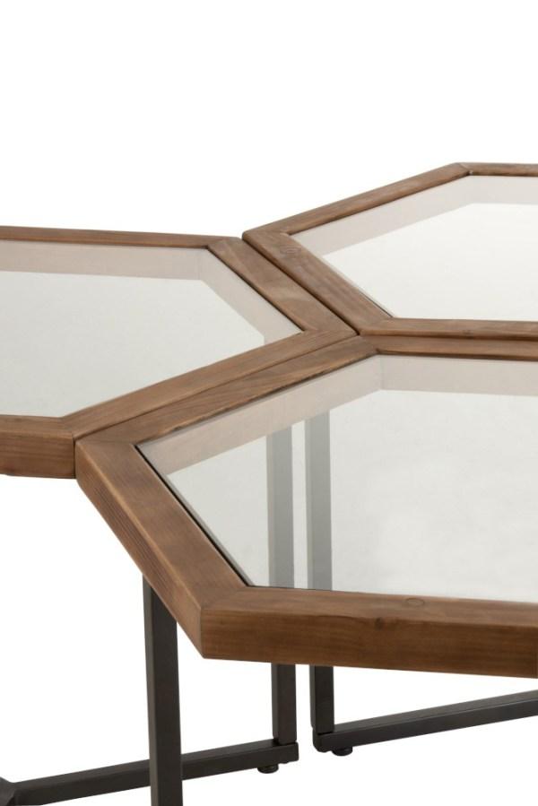 Set Van 3 Bijzettafels Hexagon Glas Hout Bruin