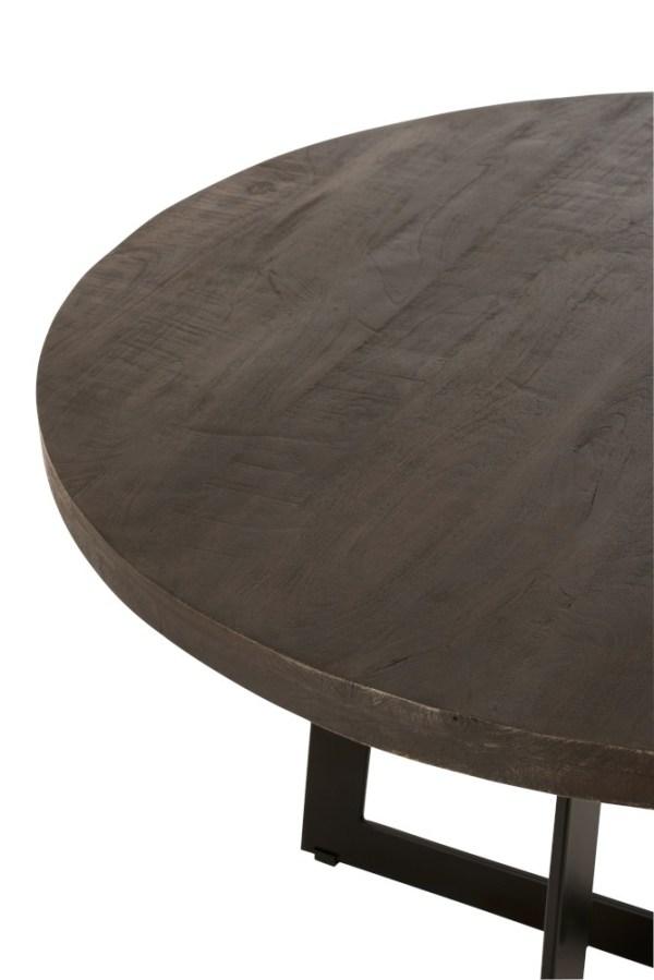Eettafel fien rond mangohout donkerbruin ijzer zwart