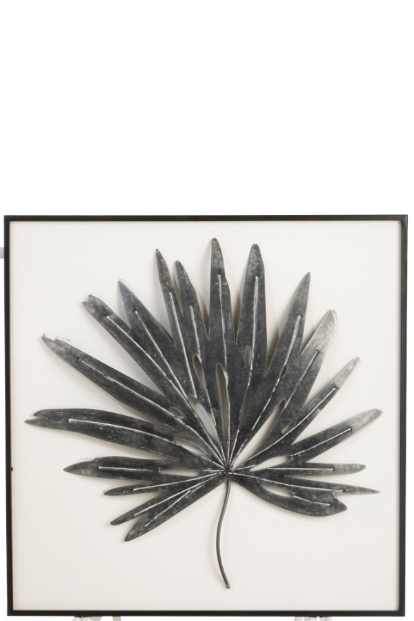 wanddecoratie blad puntig metaal zwart mdf wit