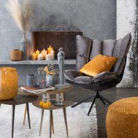 loungestoel relax textiel grijs metaal zwart 1