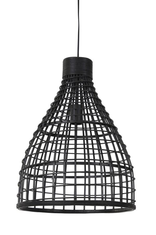 Hanglamp Puerto large rond rotan hout zwart