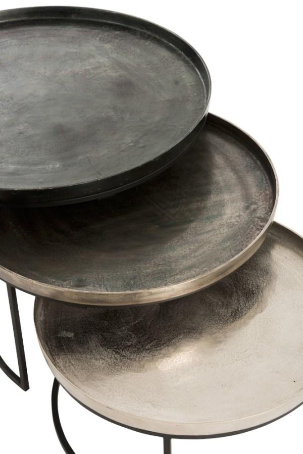 Set 3 stuks aluminium bijzettafels metaal zwart