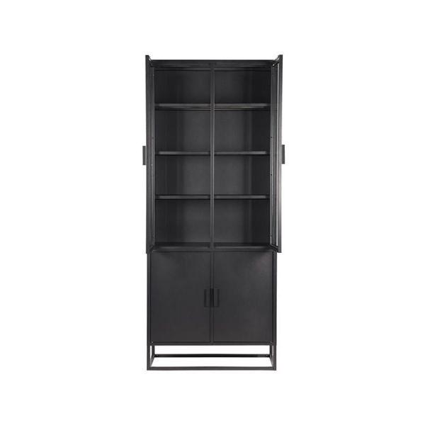vitrinekast level metaal zwart 4 deuren glas
