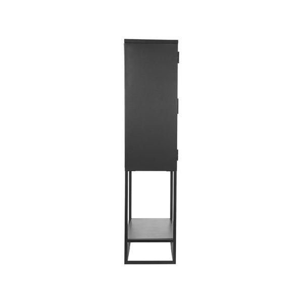 vitrinekast hoog metaal zwart glas
