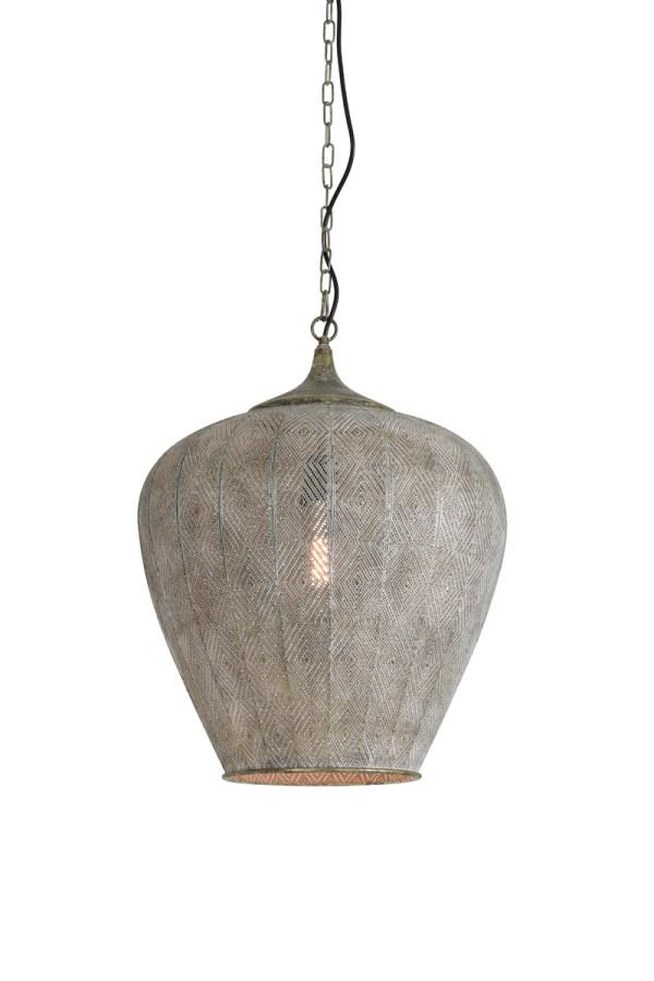 Hanglamp Lavello antiek goud wit metaal 45x58
