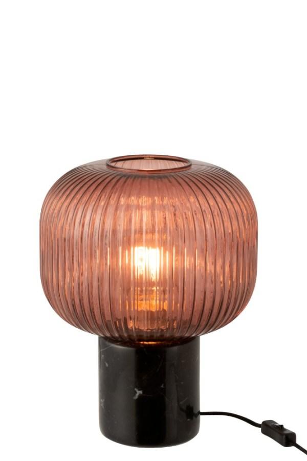 Tafellamp Yufo Glas Marmer Rood Zwart