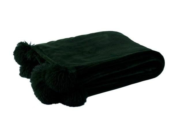 plaid pompom zwart polyester