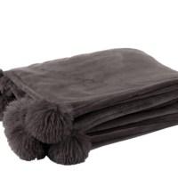 plaid pompom donker taupe polyester