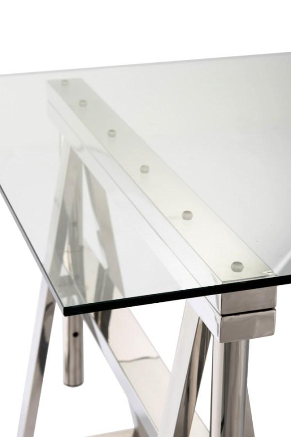 Bureau Verstelbaar Roestvrij Staal Glas Zilver Transparant