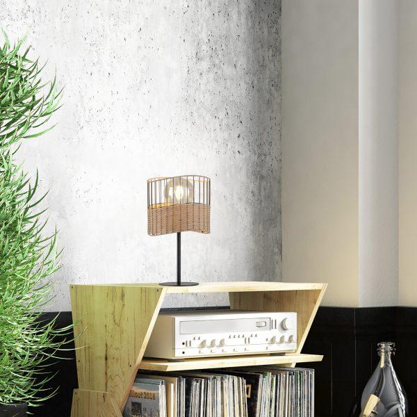 Tafellamp Reed ijzer bamboe zwart naturel